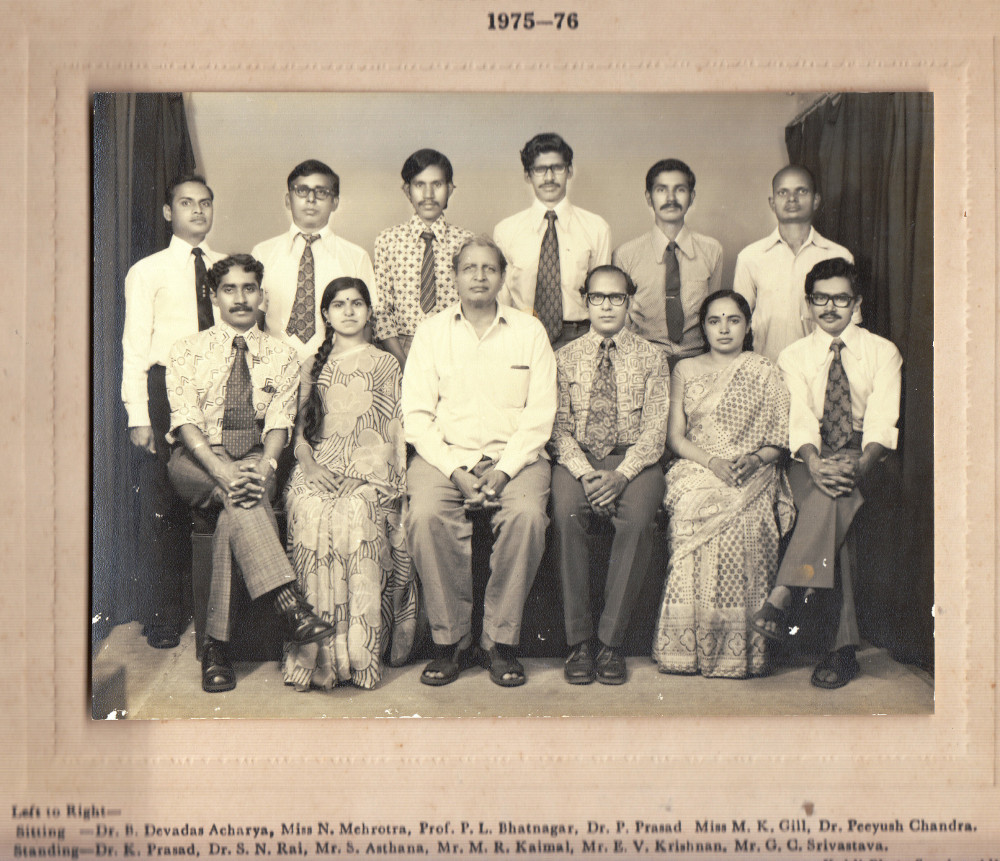 Dr. B. D. Acharya with Prof. P.L. Bhatnagar at Mehta Research Institute, Allahabad - 1975