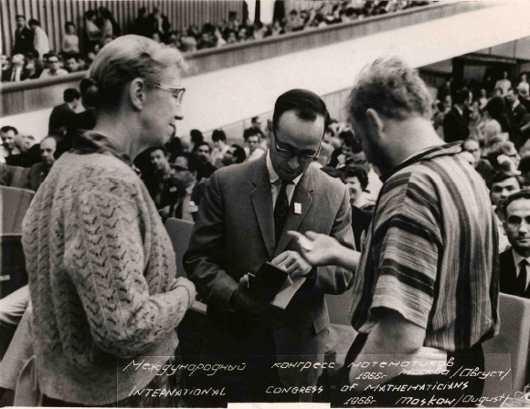Atiyah (centre) receiving the Fields Medal at the 1966 ICM in Moscow courtesy Michael Atiyah