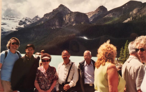 Marina Ratner at an excursion to Lake Louise, Alberta, Canada, with some of the delegates to the conference on Ergodic Theory, held at the Banff International Research Station, Banff, Alberta, Canada, in July 2005. In the photo, from left to right, are: Dave Witte Morris, Nimish Shah, Marina Ratner, S.G. Dani and M.S. Raghunathan. courtesy Nimish A. Shah