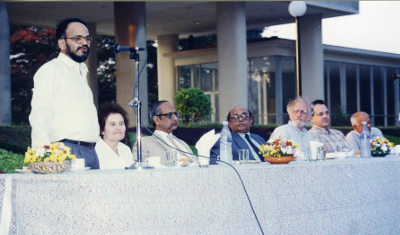Marina Ratner at the inaugural function of the International Colloquium on Lie Groups and Ergodic Theory at the Tata Institute of Fundamental Research, Mumbai, 1996. The others on the dais are, from left to right: S.G. Dani, Virendra Singh, R. Chidambaram, Hillel Furstenberg, Anatole Katok and M.S. Raghunathan. courtesy TIFR Archives