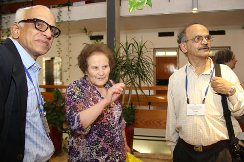 Marina Ratner with M.S. Raghunathan and S.G. Dani at the conference held in her honour at the Hebrew University of Jerusalem in October 2013.\rotatebox{90}{\tiny{\FiraSansLight \textsc{courtesy} Israel Institute for Advanced Studies, The Hebrew University of Jerusalem