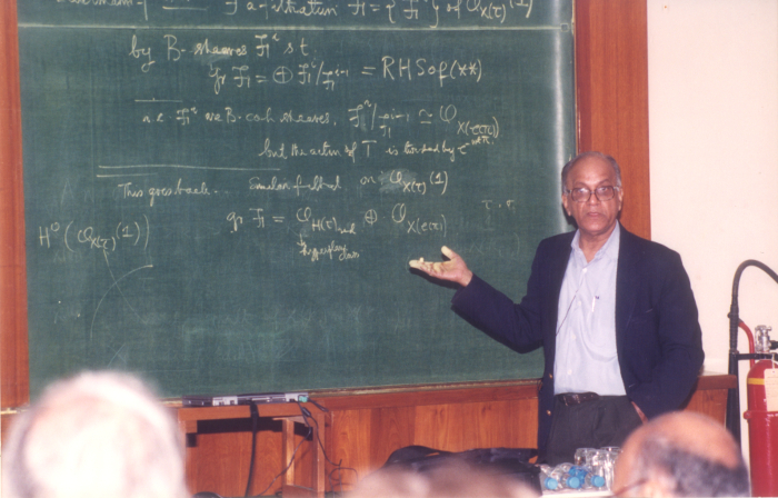Lecturing at a conference in TIFR, Mumbai courtesy C.S. Seshadri