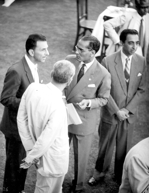 KC, with Jamshed Bhabha on his left, speaking to JRD Tata TIFR Archives
