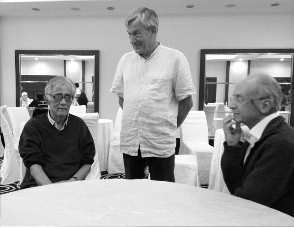 Sridharan, at his eightieth birthday celebration in July 2015, with Max Knus and Manuel Ojanguren