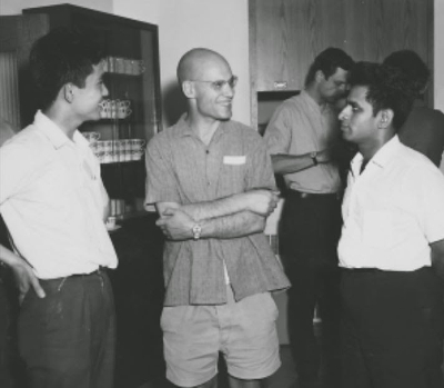 From left to right: Masayoshi Miyanishi, Alexander Grothendieck, and Shreeram Abhyankar, with Michael Artin in the background, at Montreal, 1970 Konrad Jacobs/The Mathematisches Forschungsinstitut Oberwolfach