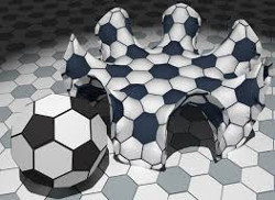 Spherical, flat, and hyperbolic soccer balls. The hyperbolic ball is always bending away from itself.