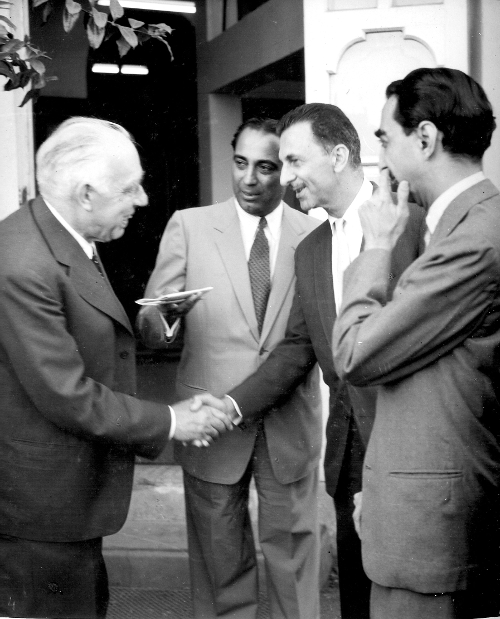 From left to right: Niels Bohr, Homi Bhabha, J.R.D. Tata and Jamshed Bhabha TIFR Archives