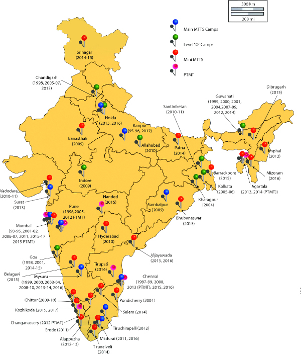 Locations of MTTS camps so far Credit: Ajit Kumar/MTTS