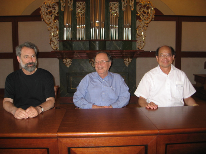 Left to right: Charles Fefferman, Joseph J. Kohn and Yum-Tong Siu at a conference in honour of Kohn in Prague, 2008 courtesy Gerald Folland