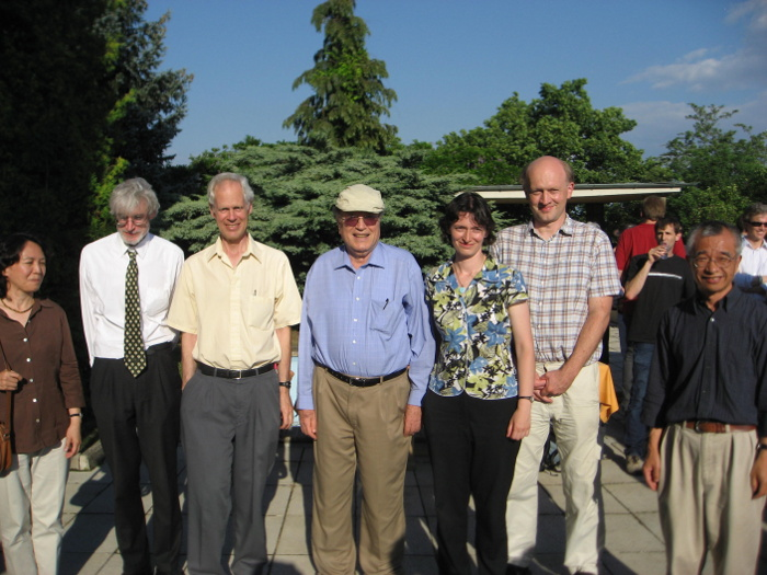 Kohn with those of his students who were attending the conference in his honour in Prague, 2008. Left to right: Mei-Chi Shaw, John Stalker, Folland, Kohn, Andreea Nicoara, Martin Kolar, and Pengfei Guan courtesy G.B. Folland