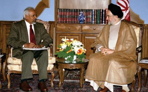 With Mohammad Khatami, President of Iran, in 2003 courtesy K.R.Sreenivasan