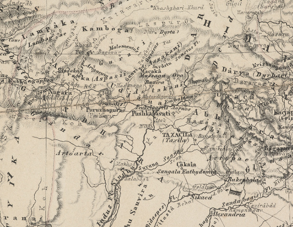 A close-up of a map of ancient India showing the area around Peshawar where the Bakhshali manuscript was found in 1881. Bakhshali is located about 90 kilometres to the northeast of Peshawar. Bodleian Libraries, University of Oxford
