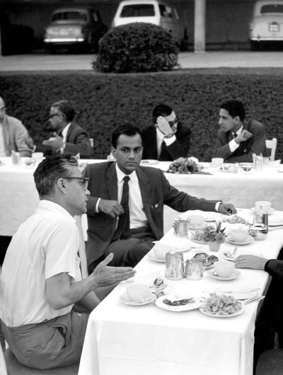 Armand Borel with C.S. Seshadri at the 1968 Algebraic Geometry Colloquium, TIFR. TIFR Archives