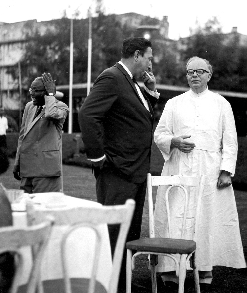 Fr. Racine (on the right) at TIFR Bombay. TIFR Archives