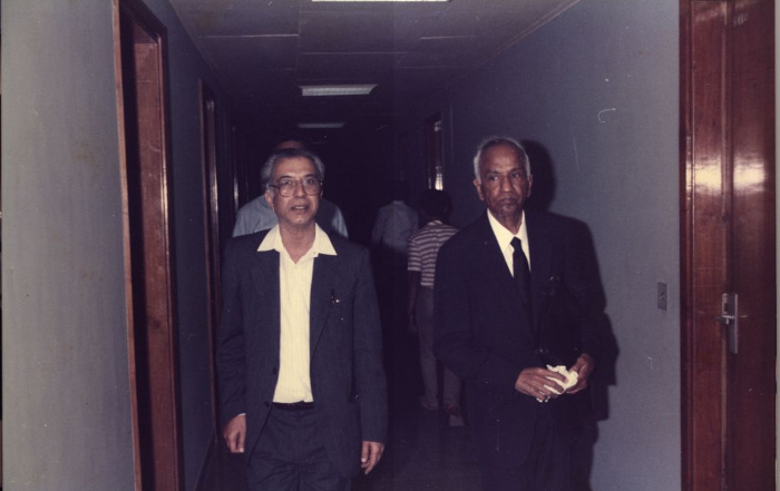 MSN with S. Chandrasekhar, at TIFR Bombay. TIFR Archives