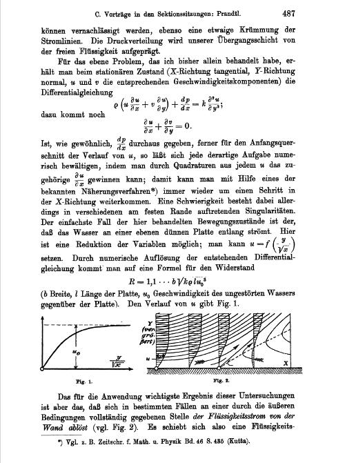 Figure 7: Modern fluid dynamics was born here. Excerpt from L. Prandtl. 1905. Über Flüssigkeitsbewegung bei sehr kleiner Reibung. Verhandlungen des dritten Internationalen Mathematiker- Kongresses in Heidelberg vom 8. bis 13. August 1904.