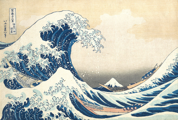 Nonlinear Japanese wave. A famous print by Hokusai (1760--1849), of a breaking wave of the kind that occurs during a tsunami.